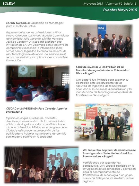 Boletín Mayo - OTRI-Bogotá